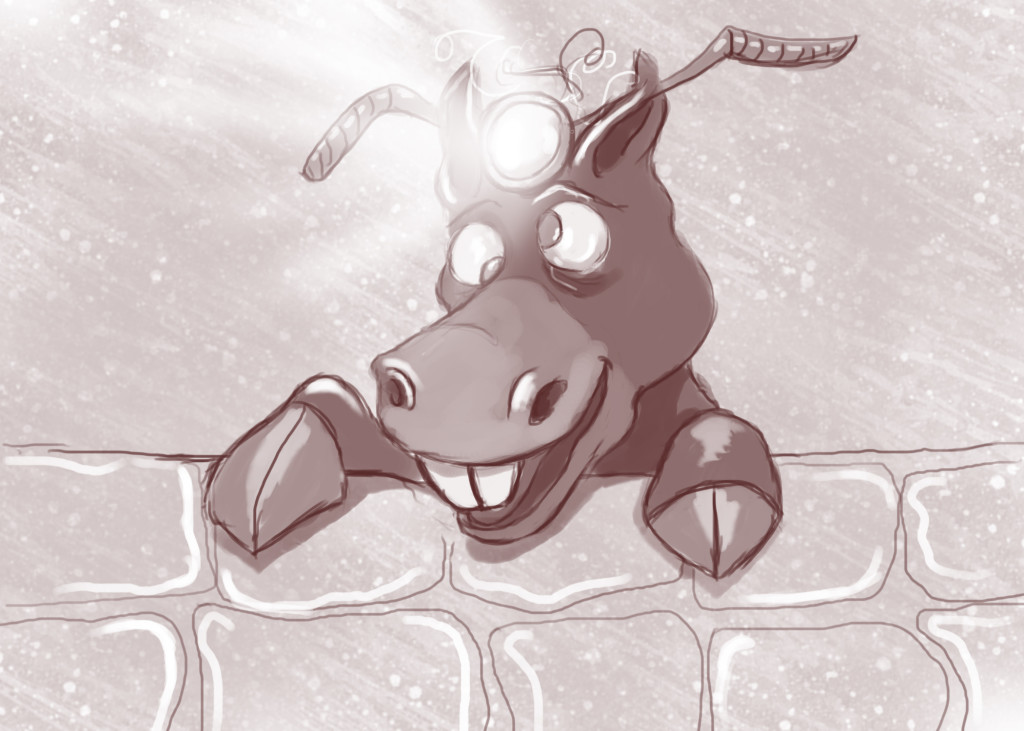 cartoon of Donkey with a light