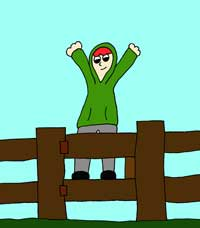 cartoon of boy on a garden gate